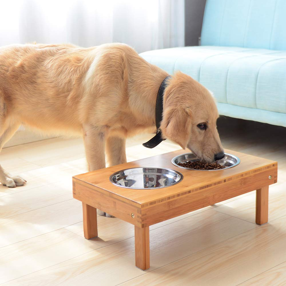 Lepet Adjustable Raised Dog Bowls Elevated Pet Feeder with 4 Stainless Steel Bowls, Elevated Dog Dish Stand with Collapsible Legs Natural Bamboo Dog Feeder (Height 2.5''~7.3'') by Lepet