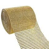 Rhinestone Ribbon - 10-Yard Gold Diamond Mesh Wrap Roll for DIY, Wedding Cake Decorations, Birthday Party Supplies, 4.625 Inches in Width