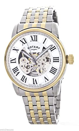 Rotary Mens Skeleton White Dial Two tone Stainless Steel Bracelet Watch GB00401/21