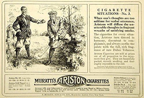 1916-ad-vintage-murattis-ariston-cigarettes-british-smoking-golfers-golf-advert-original-print-ad
