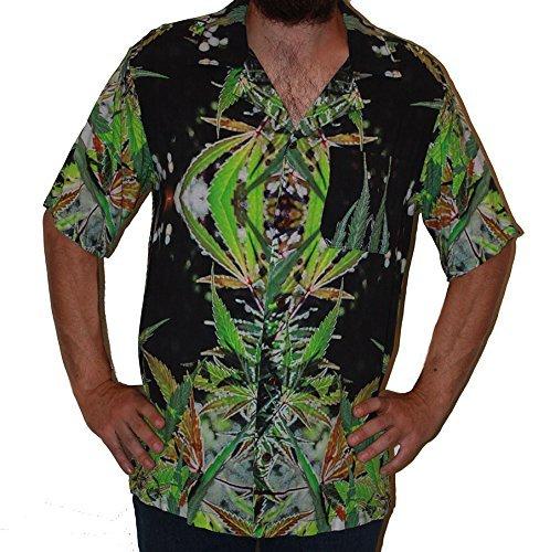 Hawaiian Shirts Mens Rayon Aloha Party Holiday Blueberry- M by Cannaflage Designs