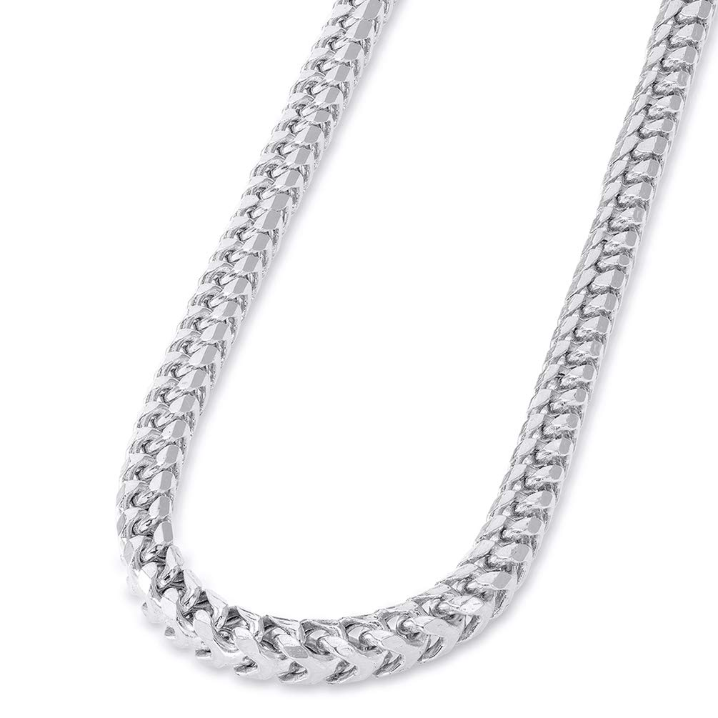 Solid 14k White Gold 4mm D/C Franco Chain Necklace with Lobster Claw Clasp, 30''