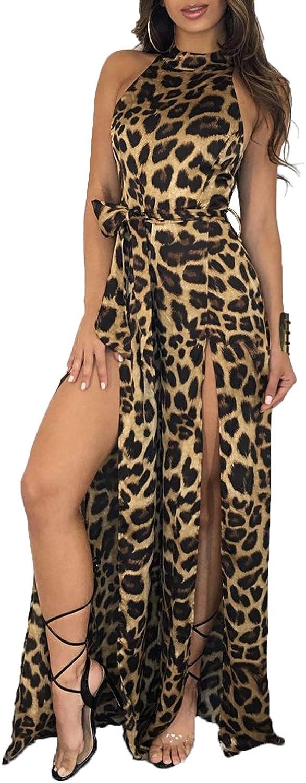Women Sexy Halter Leopard Print Jumpsuit Split Wide Leg Long Rompers Clubwear