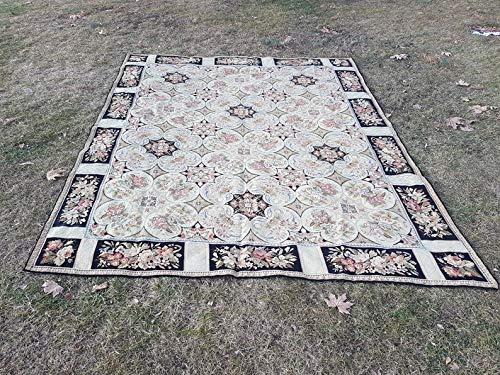 (Hand Made Aubusson Tapestry Flat Weave Kilim Rug, Decorative French Style Floral Kelim, Needlepoint Needlework 7'9'' X 9'6'' (235 x 290)
