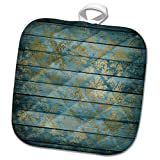 3dRose Anne Marie Baugh - Patterns - Pretty Faux Gold Damask On A Steel Blue Faux Printed Wood - 8x8 Potholder (phl_283355_1)