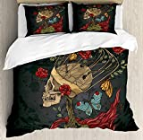 4 Piece Twin Size Duvet Cover Set,Skull Evil Mexican Sugar Skeleton Kitsch Bush Roses Snake Butterfly,Bedding Set Luxury Bedspread(Flat Sheet Quilt and 2 Pillow Cases for Kids/Adults/Teens/Childrens