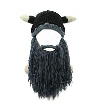 a7497119efe Wa 1 pcs Funny Hat Knitted Beard Mustache Hat Personality Viking Hat Cap  Costumes Accessories  Amazon.co.uk  Clothing