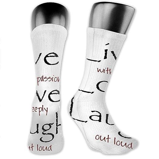 10e0a8addf Live Love Laugh Quotes Mens Dress Socks Fun Crew Socks 15.7