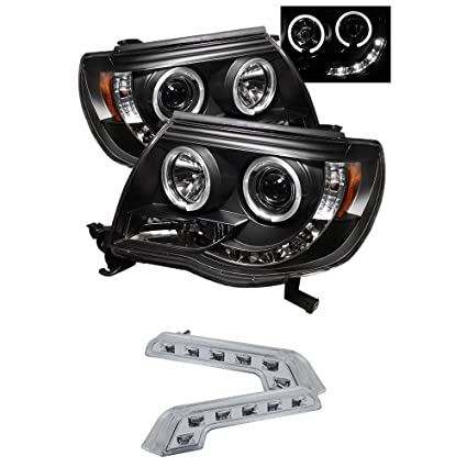 Toyota Tacoma Projector Headlights LED Halo LED Black Housing With Clear  Lens