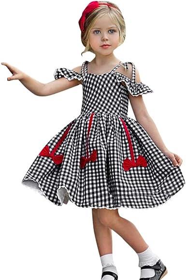 PinkLu niñas Negro Falda de Vestir Primavera Verano niña Vestido ...