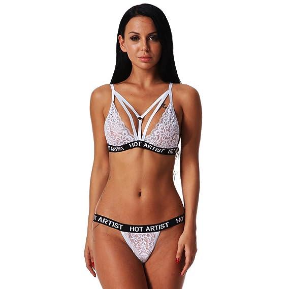 LenceríA Mujer Prime para Sexy Encaje con Liguero Tanga Y Sujetador Babydoll Pijamas Camisones CordóN Sexy