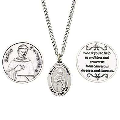 b94bf1ba877 Amazon.com: Rosemarie Collections Saint Peregrine Pendant Necklace and 2  Religious Pocket Tokens: Jewelry
