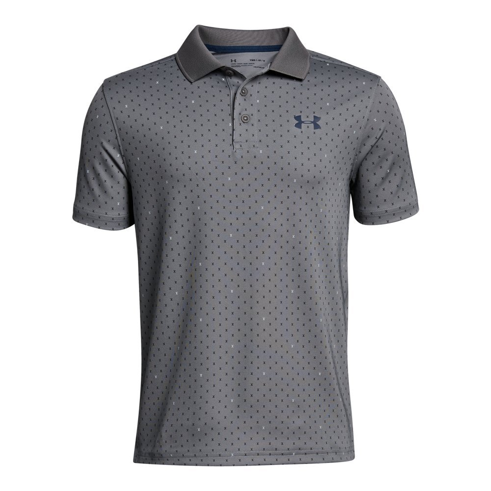 Under Armour Boys' Performance Novelty Polo, Zinc Gray (513)/Academy, Youth Medium