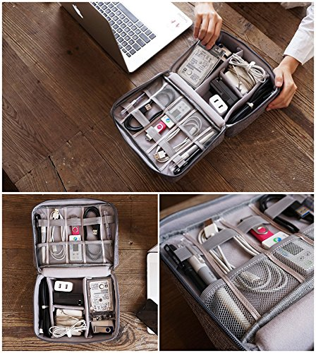 Rosoz Adjustable Travel Electronics Organizers, Waterproof Electronic Bag, Travel Gadget Bag for Cables, Power, Memory Cards,Flash Hard (Grey)