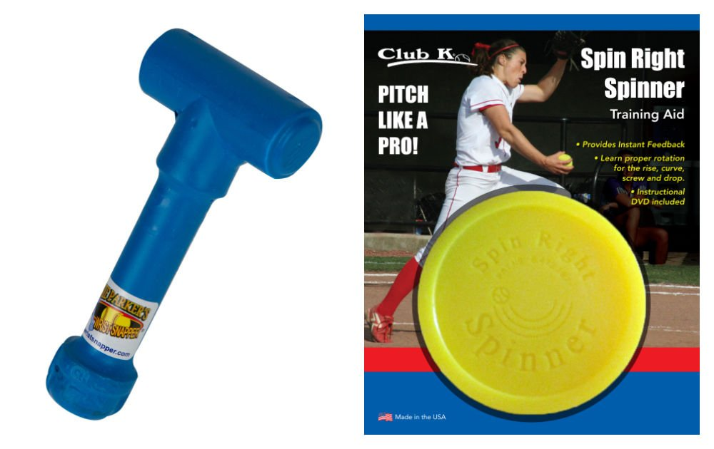 SPIN RIGHT SPINNER & Ernie Parker's WRIST SNAPPER Fastpitch Softball Pitching Training Aids Equipment by Buckeye Nation Sales