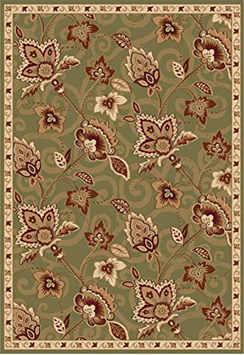 Transitional Green Bordered Floral Vines Area Rug: Actual Size - 2' 6'' x 4' 3'' Rectangle (Floral Vines Rectangle Rug)