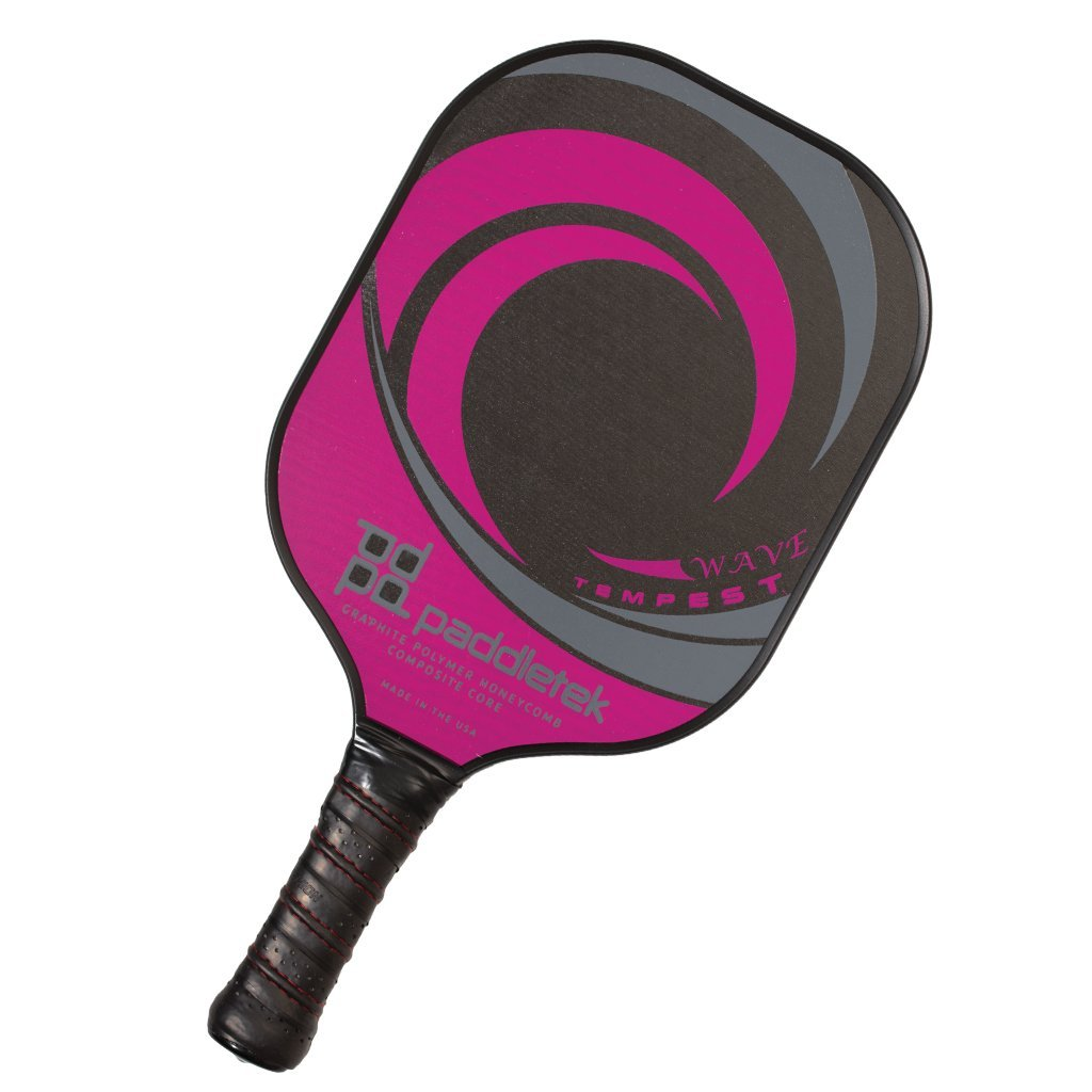 PaddleTek Tempest Wave Pickleball Paddle, New Graphite Polymer Composite (raspberry) by Paddletek