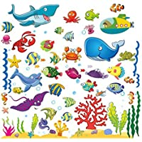 Under The Sea Fish Wall Stickers for Kids, Ocean Decal...