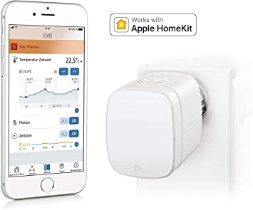 Eve Thermo (Vorgängermodell) Smartes Heizkörperthermostat mit LED Display, automatische Temperatursteuerung, integriertes Touch Bedienfeld,