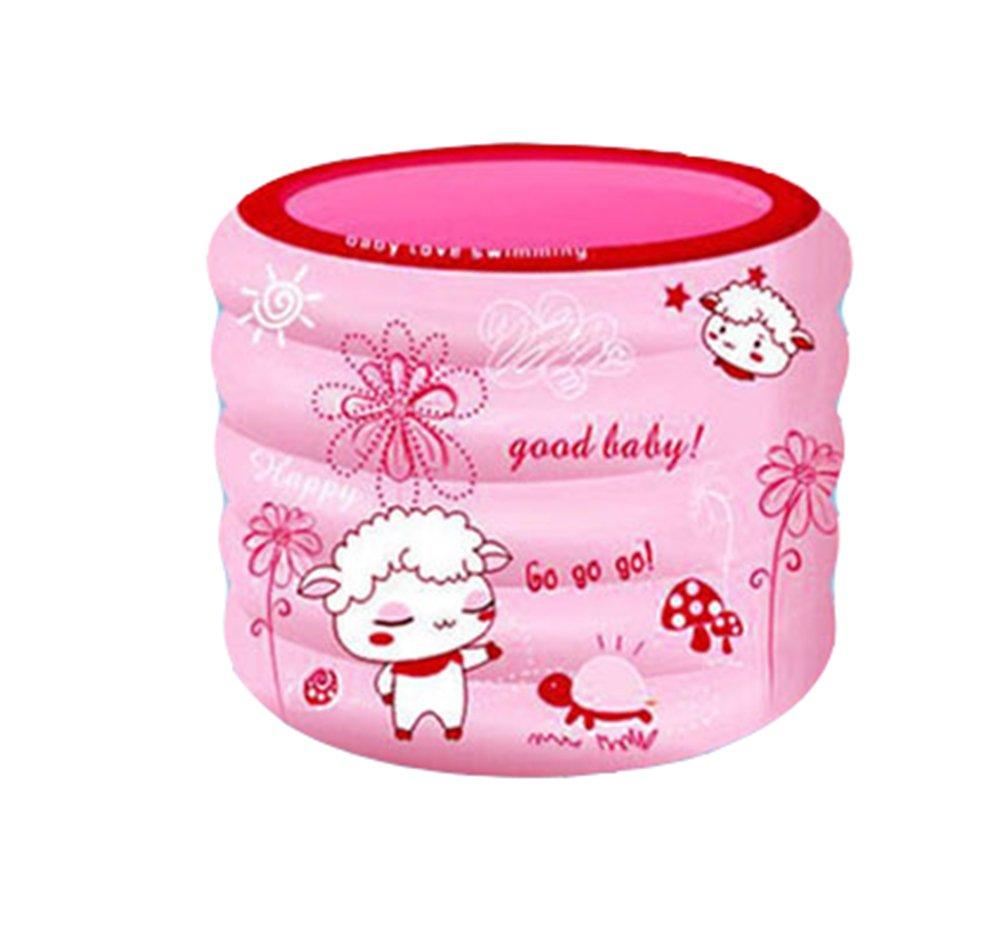 Inflatable Bathtub, PVC Household Round Bath Thickening Folding Portable Bathtub Adult Bathtub Outdoor Swimming Pool/blue/pink (Color : Pink)