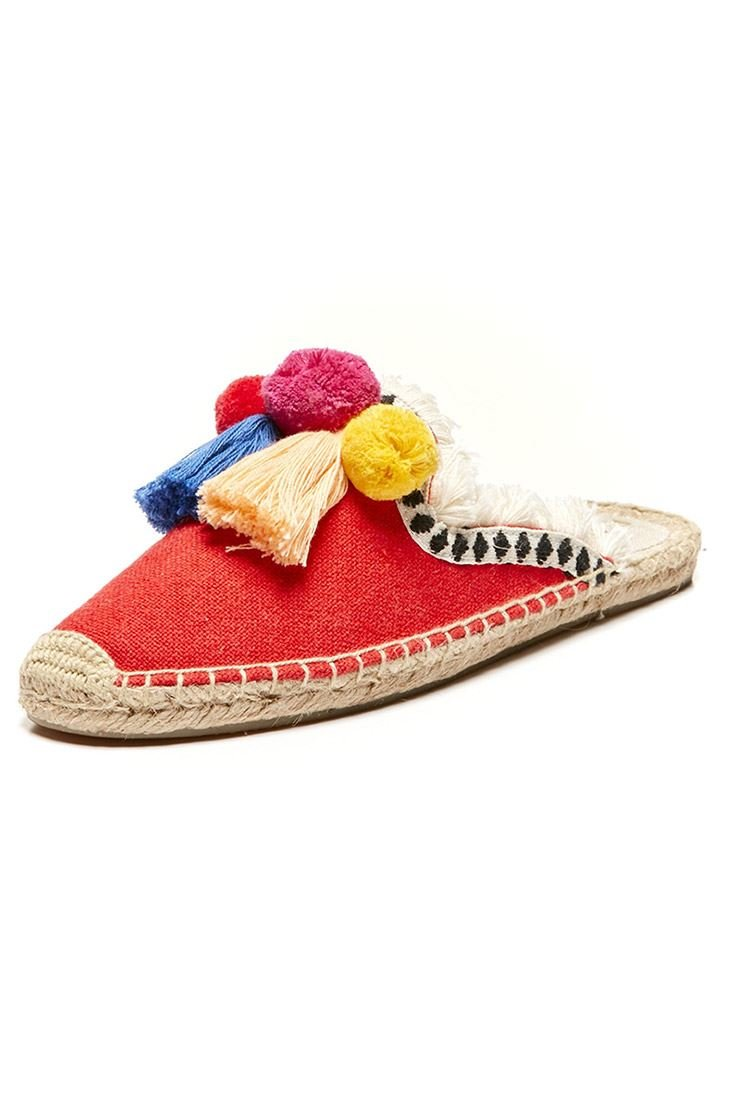 Soludos Women's Clogs Frayed Edge Pompom Mule - Red - Multi - 6