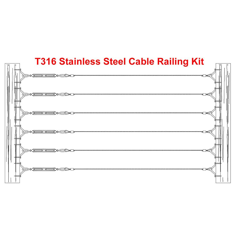 NOPTEG 10 Pcs Swageless Wall Toggle Turnbuckle Stainless Steel Marine Grade T316 for 1//8 Cable