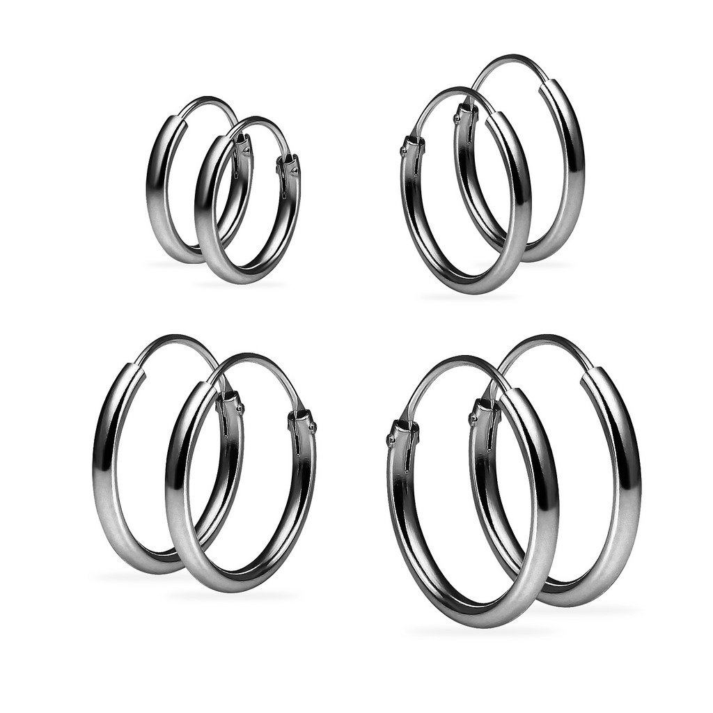Set of Four Sterling Silver Small Endless 1.2mm x 10mm, 12mm, 14mm & 16mm Lightweight Thin Round Unisex Hoop Earrings Black Flashed Rhodium Finish by Silverline Jewelry (Image #1)