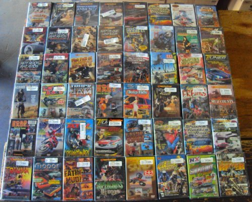 100 Dvds: Cars, Motorcycles, Racing, Crashes, Motocross, Hot Rods, Wholesale Lot