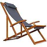 Liegestuhl Deckchair | Akazienholz | Klappbar | Atmungsaktiv | Reisebegleiter | Sonnenliege Liegestuhl Strandstuhl Stuhl Gartenliege Relaxliege - Farbwahl - Anthrazit