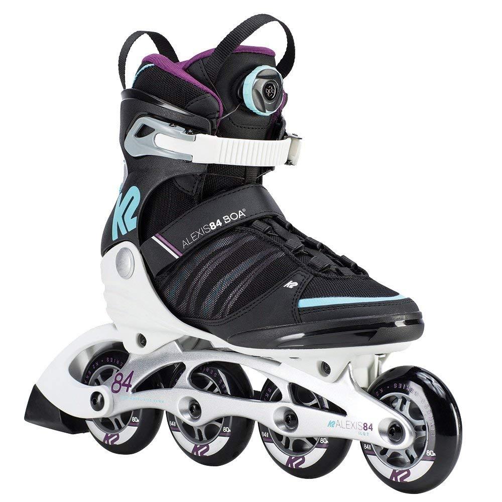 K2 Skate Womens Alexis 84 Boa Inline Skates, 8.5, Black/Purple