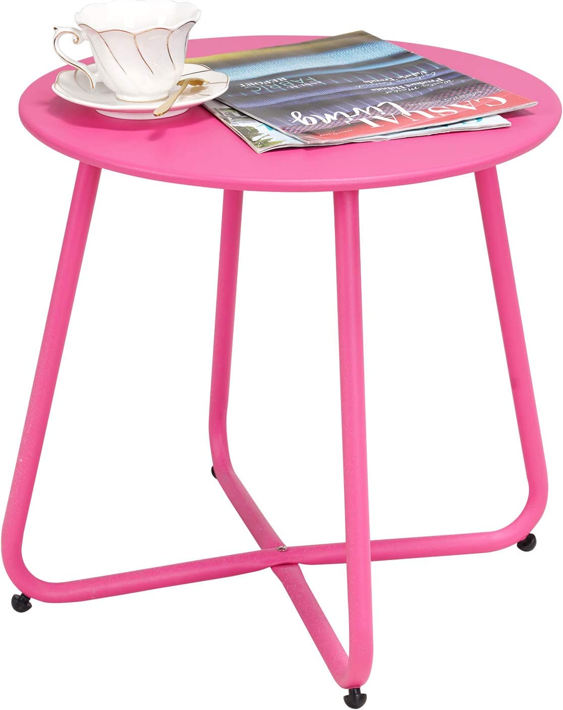 Grand Patio Steel Patio Side Table, Weather Resistant Outdoor Round End Table, Pink