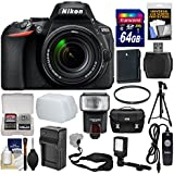 Nikon D5600 Wi-Fi Digital SLR Camera & 18-140mm VR DX AF-S Lens 64GB Card + Case + Flash + Video Light + Battery & Charger + Tripod + Filter Kit