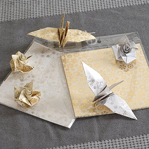 Origami Paper Set, 15x15cm gold and silver origami paper sheets 80pcs/lot art background decorative papercrafts (Rose Origami Paper)