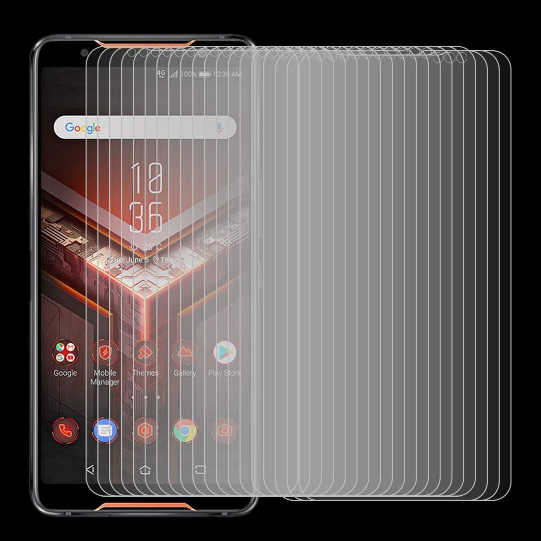 GzPuluz Glass Protector Film 100 PCS 0.26mm 9H 2.5D Explosion-Proof Tempered Glass Film for Asus ROG Phone