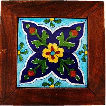 Buy Seher Handicraft Jaipur Blue Pottery Framed Tile 15 Cm X 15 Cm