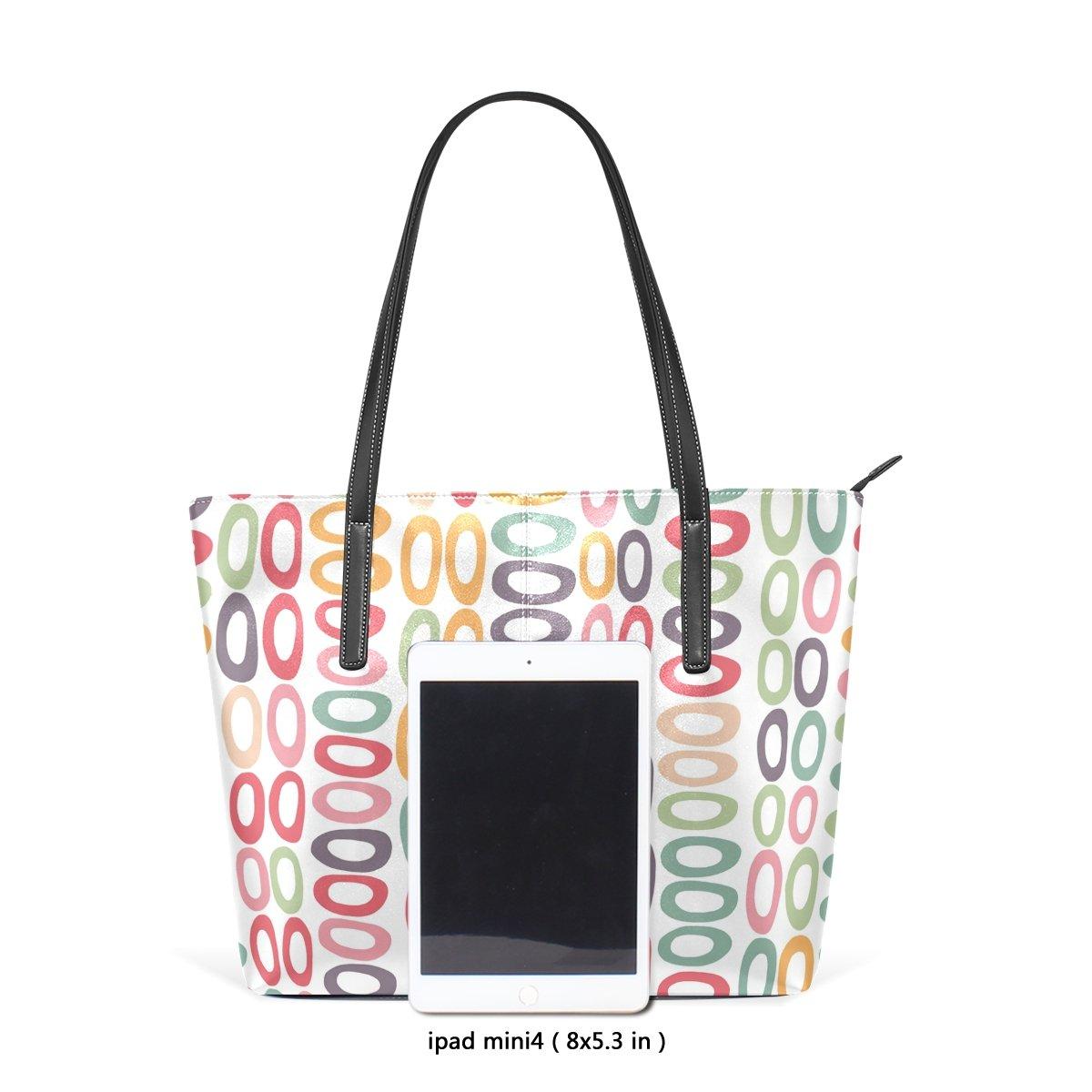 Womens Leather Top Handle Shoulder Handbag Colour Circle Large Work Tote Bag