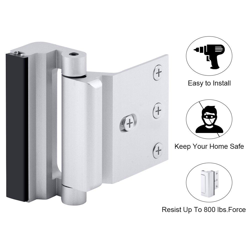 Home Security Door Lock, Childproof Door Reinforcement Lock with 3'' Stop 4 Screws Withstand 800 lbs for Inward Swinging Door, Upgrade Night Lock to Defend Your Home by EVERPLUS