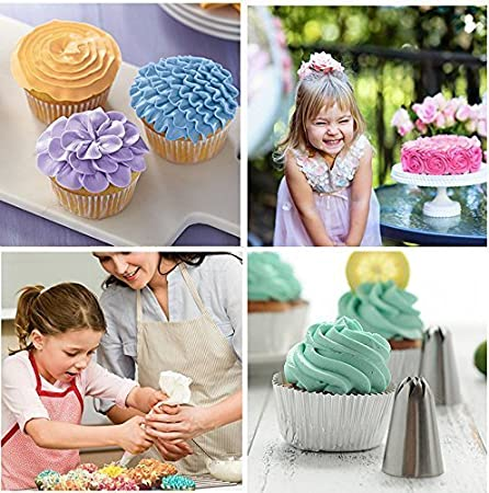 1 Silicone Icing Piping Pastry Bag 14pcs Russian Piping Nozzle Tips 1 Coupler,Cakes Cupcakes Decorating Supplies Kit Blue Ddfly Cake Decorating Set