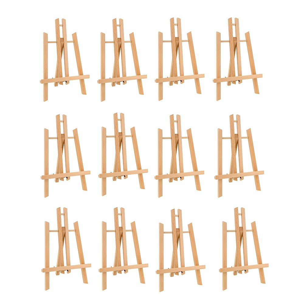 CONDA 11 inch Tall Medium Tabletop Display Wooden Easel(Pack of 12) by CONDA