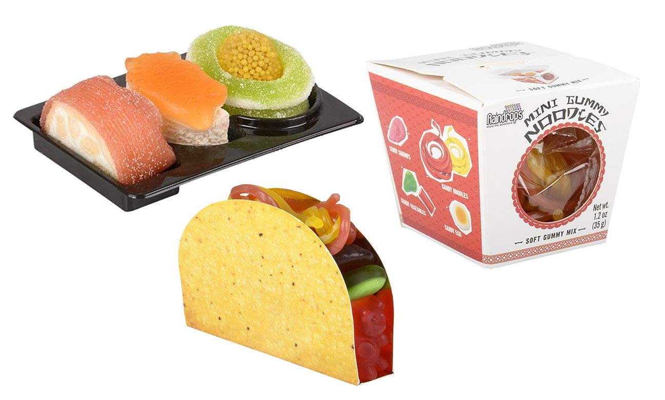 Set of 3 Gummy Candy - Taco / Sushi / Take Out Chinese Noodles - Cute and Unique Food