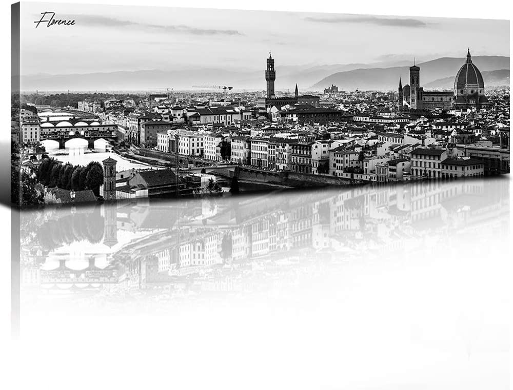 Sunfrower Florence Skyline Decor Wall Art Canvas Black And White Night View Italy Cityscape Panoramic Prints Painting Urban Landscape Picture Modern Bedroom Framed Decoration 14 X 48 X 1 Home