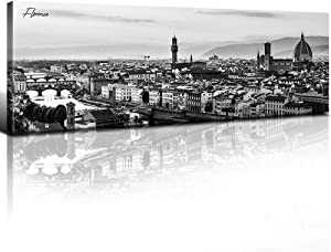 sunfrower Florence Skyline Decor Wall Art Canvas Black and White Night View Italy Cityscape Panoramic Prints Painting Urban Landscape Picture Modern Bedroom Framed Decoration 14