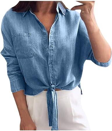 AMhomely Camisa de Mujer para Mujer, de Color Liso, Corbata ...