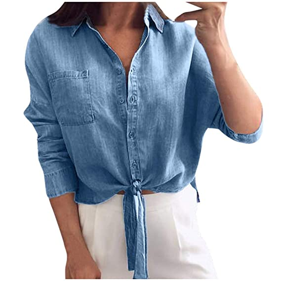 AMhomely Camisa de Mujer para Mujer, de Color Liso, Corbata de ...
