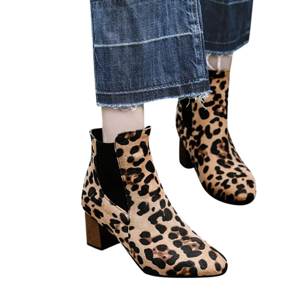 LILICAT❋ Leopardo para Mujeres Botas Cortas de Felpa Botines de Alto Zapatos Plataforma,Botines de Moda para Mujer con Botines de Ante de Leopardo.
