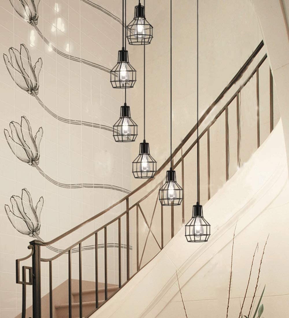 Lámpara de 6 luces de techo retro forjado Luz Escalera industrial de la lámpara Loft nórdica estilo Lámparas Duplex escalera colgante de hierro largo Araña Restaurante Sala Negro (Size : B) :