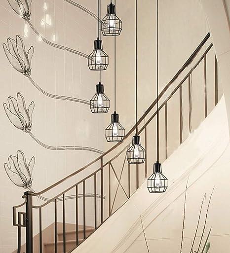 Lámpara de 6 luces de techo retro forjado Luz Escalera industrial de la lámpara Loft nórdica