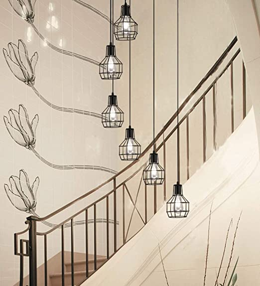 Lámpara de 6 luces de techo retro forjado Luz Escalera industrial ...