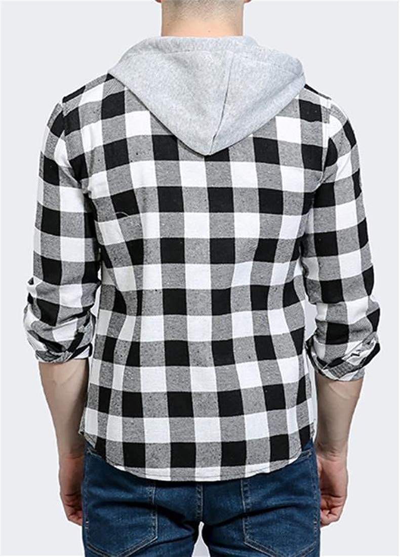 Cromoncent Mens Casual Checkered Buffalo Drawstring Hooded Button Down Shirts