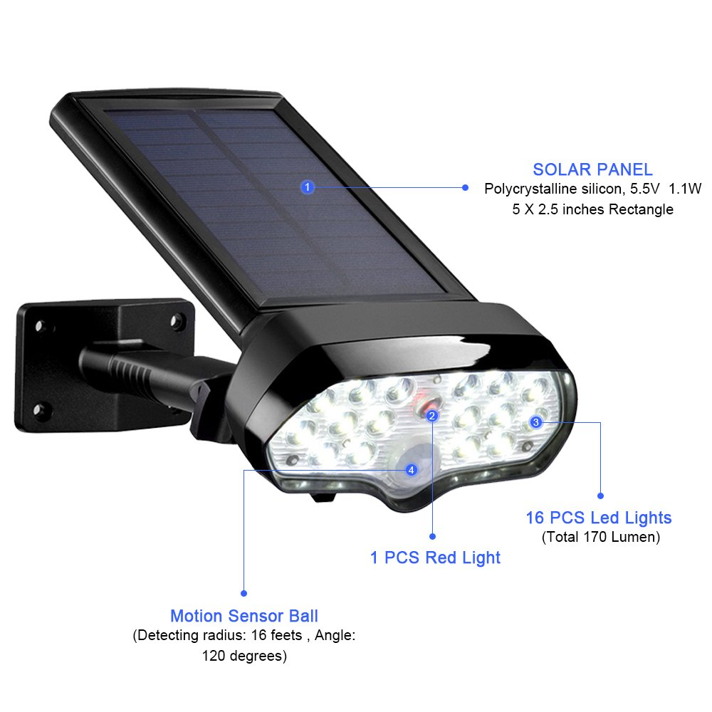 Auraglow Super Bright Cordless Motion Sensor Activated PIR Sensor Outdoor Wireless Solar Power Security Light